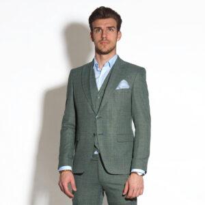 Három részes slim fit világoszöld öltöny